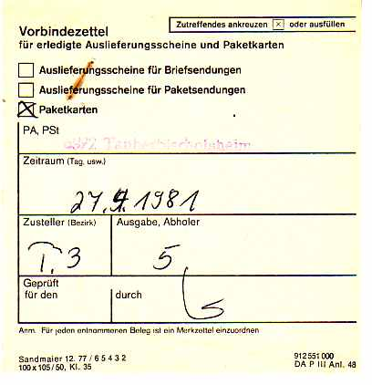 Philaseitende Formulare Der Post