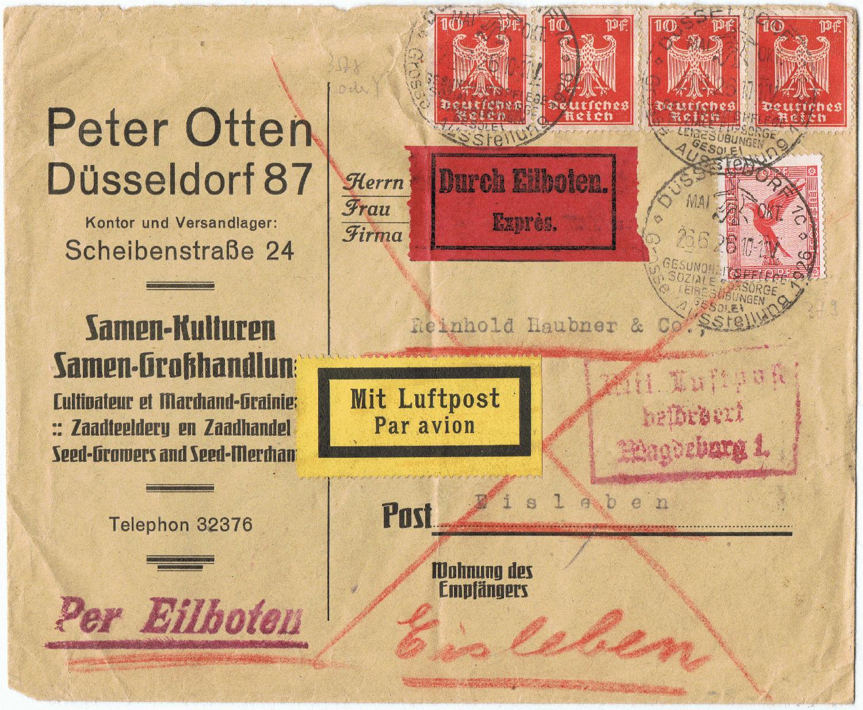 Philaseitende Air Mail Luftpost Aufkleber Labels Eindrucke