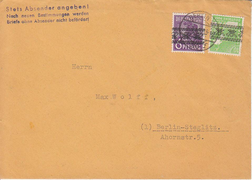 Briefe Ohne Absender Verschicken : Philaseiten  alliierte besetzung nebenstempel