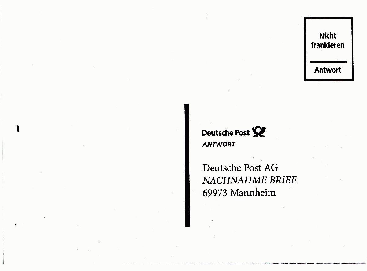 Briefe Mit Antwort Frankieren : Philaseiten nachnahme postkarten der deutschen post