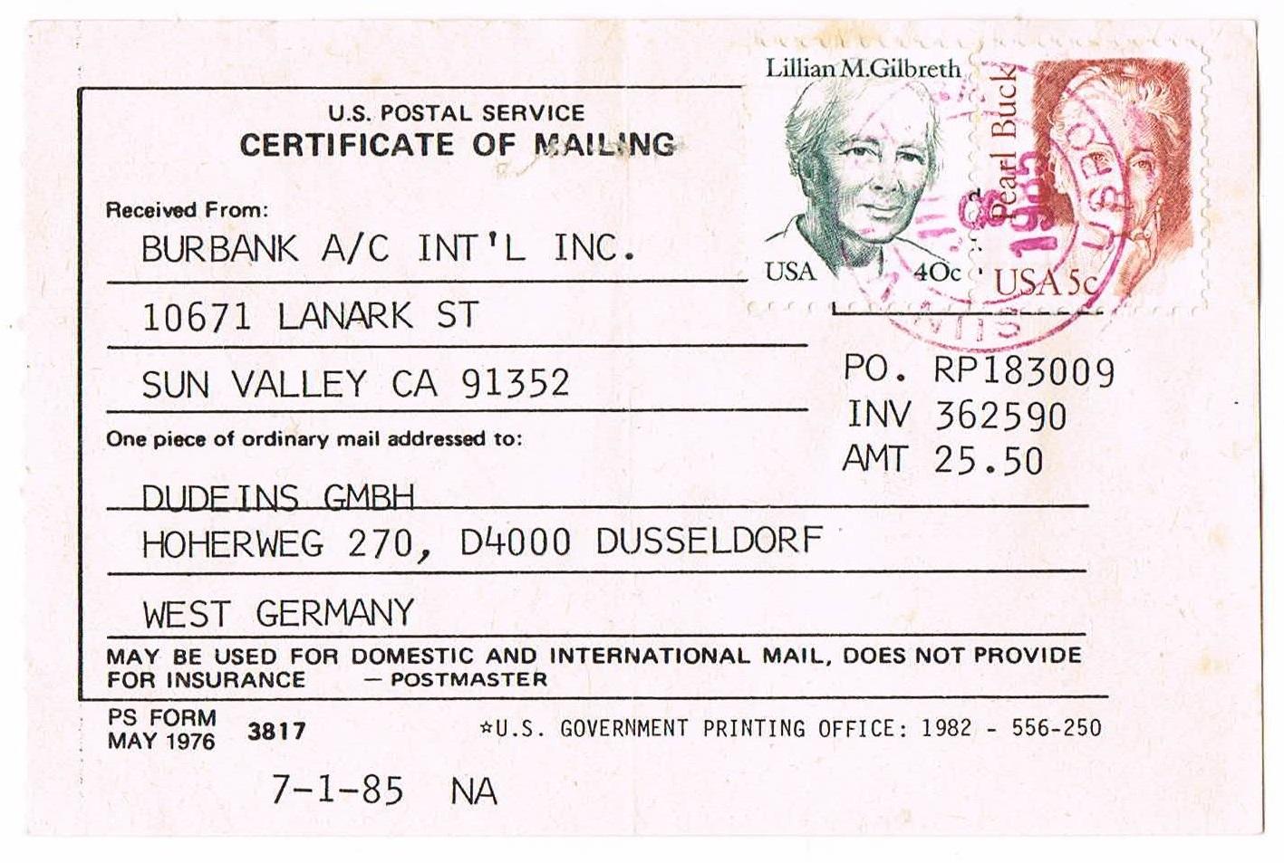 Philaseiten usa einlieferungsformular ps form 3817 certificate of mailing der us post vom 8 juni oder juli 1985 die rckseite dieses scheins ist blanko und weist keine weiteren angaben auf 1betcityfo Image collections