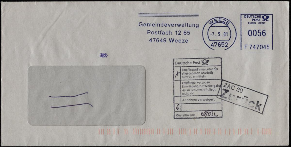 Brief Nicht Ausreichend Frankiert