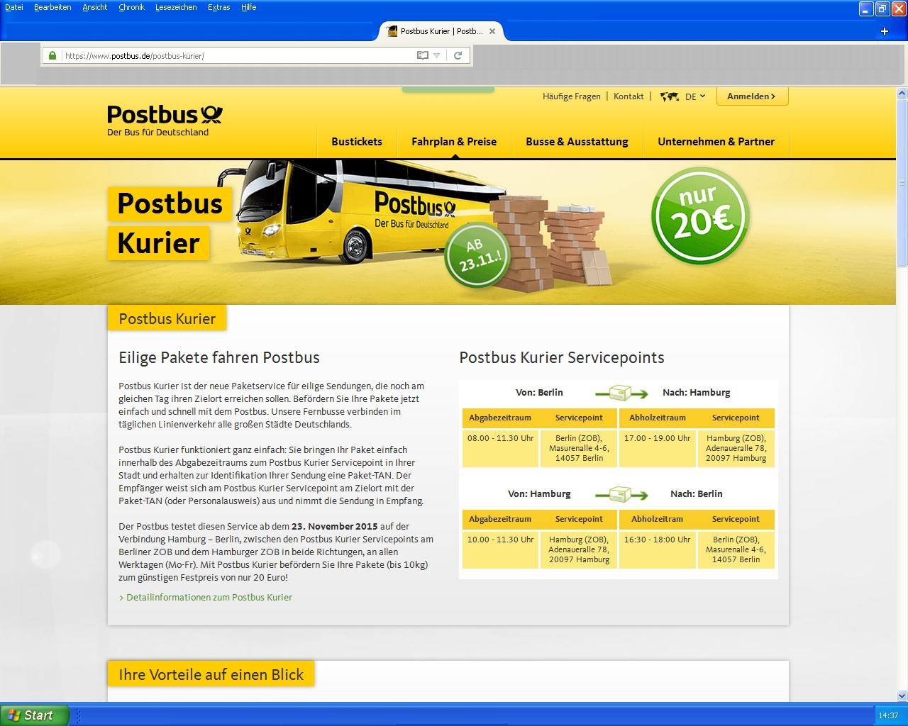 Brief Mit Kurier Versenden : Philaseiten eilige pakte versenden mit dem postbus kurier