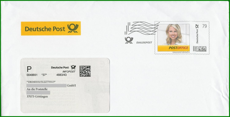 Holzstempel Dialogpost früher Infopost Frankierwelle Dialogpost Infopost-AB