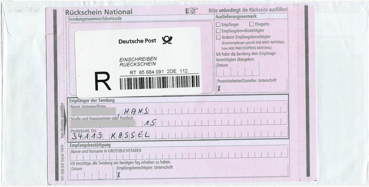 Einschreiben Postfach