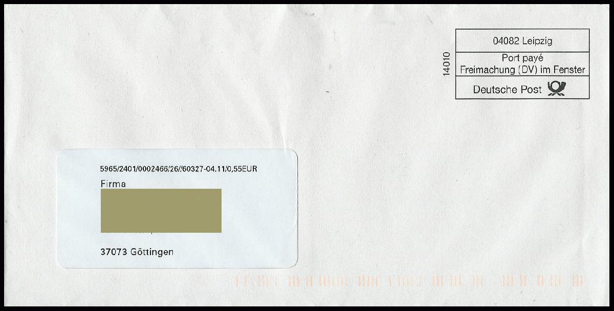 Philaseitende Moderne Postgeschichte Freimachung Dv Im Fenster
